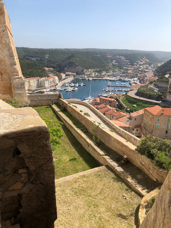 View from the old town of Bonifacio over the harbour.